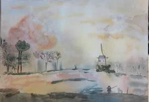 coucher de soleil sur les étangs aquarelle_n