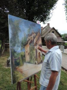 Joel Desrues peint le moulin de Fourges