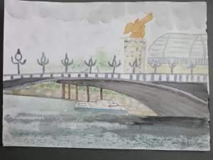 """""""pont de l'Alma"""" aquarelle"""
