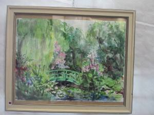 le pont japonais dans les étangs de nymphéas aquarelle d' Anna Filimonova