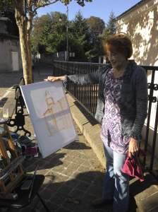 Antoinette Carniato peint aussi l'église de Montigny les cormeilles (dessin préliminaire)