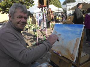 un peintre sur la place de la bibliothèque:Joel Desrues