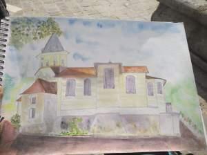 Toujours la même église un peu plus tard aquarelle pascale coutoux