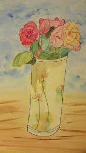 """""""bouquet de roses"""" aquarelle Pascale coutoux"""