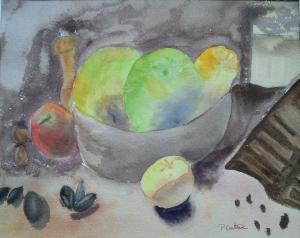 pommes et chocolat aquarelle