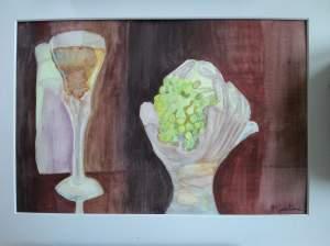 """""""Raisin et vin"""" aquarelle 20x30 cm pascale coutoux"""