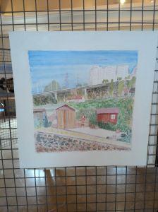 """Mon aquarelle """"L'été en val d'oise""""mélange d'urbain (avec les immeubles et l'autoroute au fond )et de campagne (avec les petits jardins ouvriers)"""
