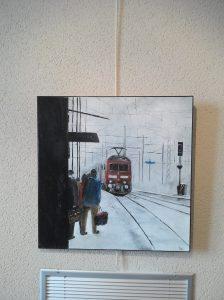 Le tramway et son arrêt.