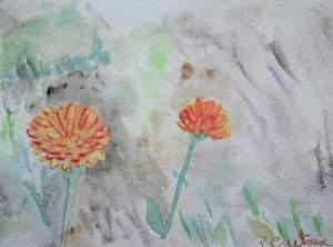 Aquarelle carte fleur pascale coutoux