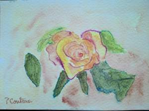 rose jaune aquarelle pascale coutoux