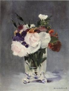 fleurs dans un vase de cristal Manet 1885