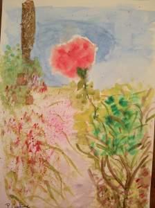 """Aquarelle """"rose de mon jardin """" 2 pascale coutoux"""