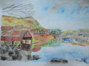 """""""cabanon sur un lac"""" aquarelle retravaillée) pascale coutoux"""