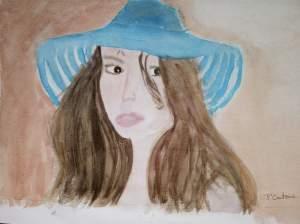 """""""femme au chapeau bleu"""" aquarelle pascale coutoux"""