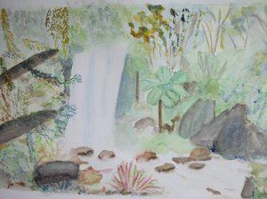 """""""la cascade"""" 1ère version aquarelle pascale coutoux"""
