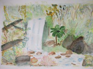 """""""la cascade"""" version retravaillée aquarelle pascale coutoux"""