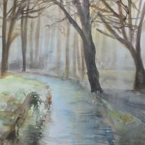 """""""rivière en hiver"""" aquarelle pascale coutoux"""