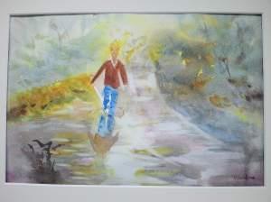 """""""sautons sous la pluie"""" aquarelle pascale coutoux"""