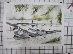 """""""barques au lac"""" Roland Visdeloup prix de l'aquarelle"""
