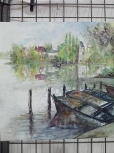 """""""rêverie au bord du lac"""" Valérie Pontif aquarelle"""