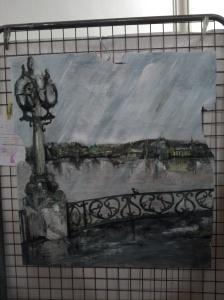 """""""le lac sous la pluie"""" lionel erba huile et sculpture à la scie su bois prix de l'originalité"""