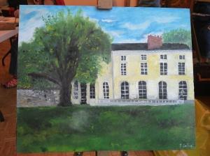"""Mon tableau terminé intitulé """"l'arbre et le château"""""""