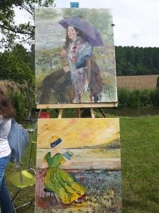 en haut tableau de la jeune Lucy Petryk qui a obtenu trois prix dont le prix Denis Regnier en bas le tableau de Thérèse