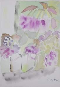 carte postale bouquet dans vase blanc