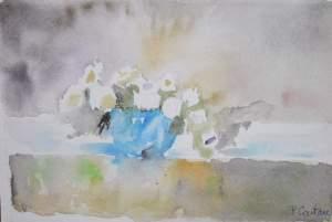 carte postale bouquet dans vase bleu