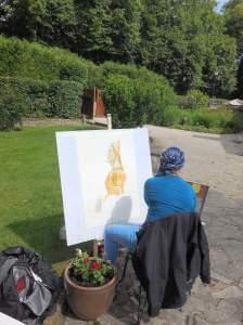 dame peinte à l'aquarelle début