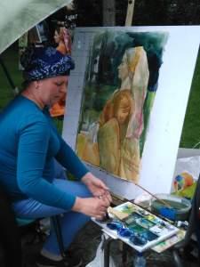 dame peinte à l'aquarelle