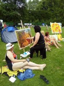 dans l'herbe, peintres et leur modèle :touche finale