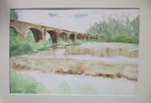 """""""pont sur la rivière"""" aquarelle pascale coutoux"""