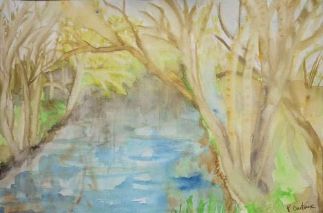rivière au printemps aquarelle
