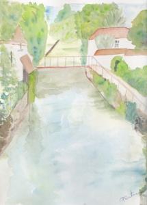 rivière de village aquarelle pascale coutoux
