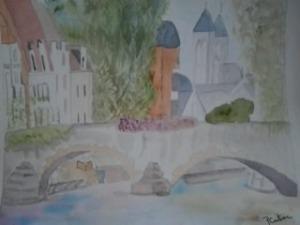 vieux pont sur la rivière aquarelle pascale coutoux