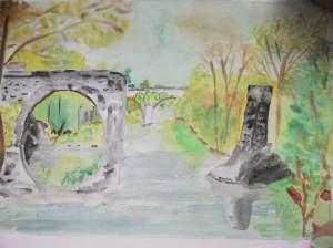 vieux pont aquarelle pascale coutoux