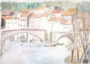 village du sud aquarelle pascale coutoux