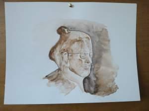 mon portrait pendant que je peignais peint par Annie Guet