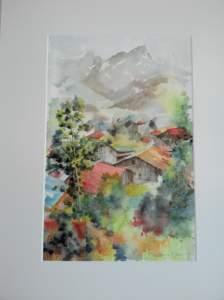 village de montagne peint par Marc Desreumaux