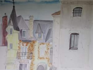 """""""grande maison à Montigny les Cormeilles"""" aquarelle pascale coutoux"""