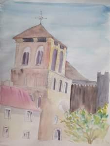 église de Saint Yriex aquarelle pascale coutoux