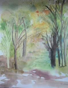 chemin automnal aquarelle