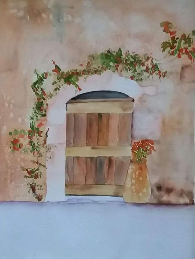 la vieille porte aquarelle pascale coutoux