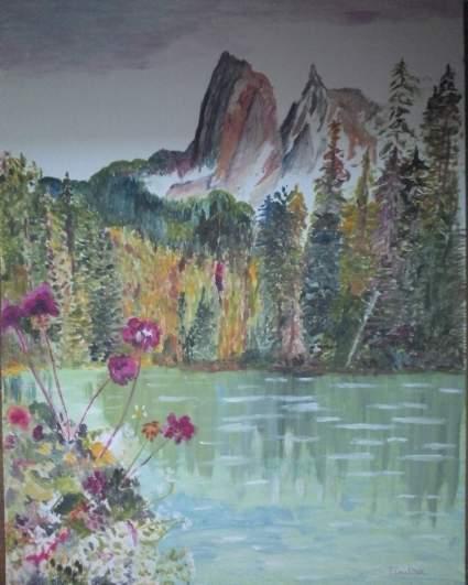 lac et montagne (fantastique) huile sur papier