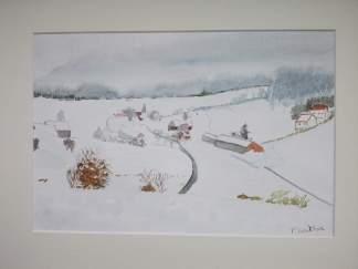 village dans la neige aquarelle