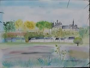 chateau de chaumont peint par moi sur le motif en une heure