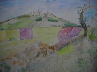 village de Vézelay aquarelle