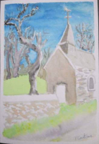 chapelle à Anost carte aquarelle