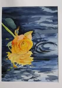 rose jaune aquarelle